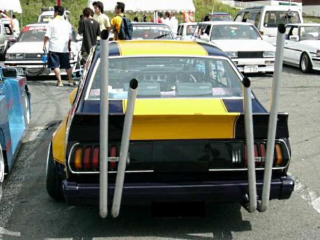 Big double V exhaust on bosozoku styled Toyota Celica