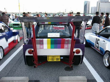 Bosozoku styled Mitsubishi Minica with five fingers exhaust
