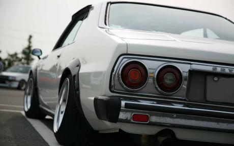 White kyusha styled Nissan Skyline Japan