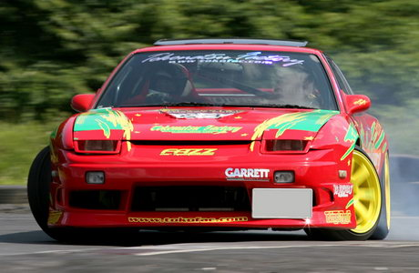 A Nissan 180SX driver participating in the MSC drift championship
