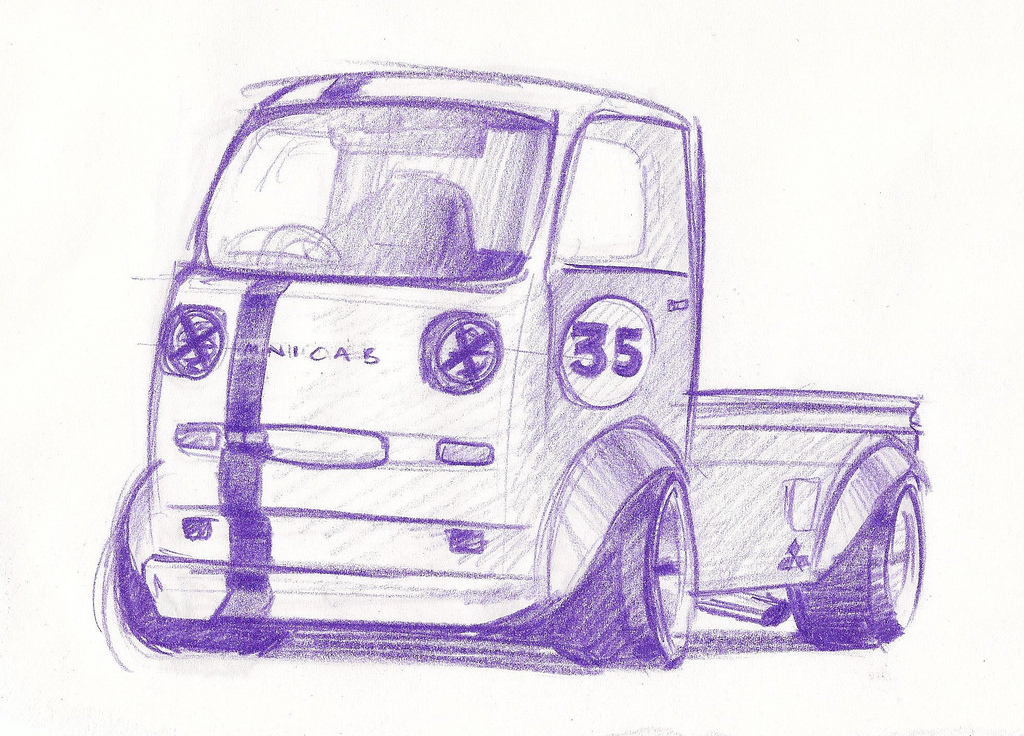 Bosozoku style artwork: Mitsubishi Minicab