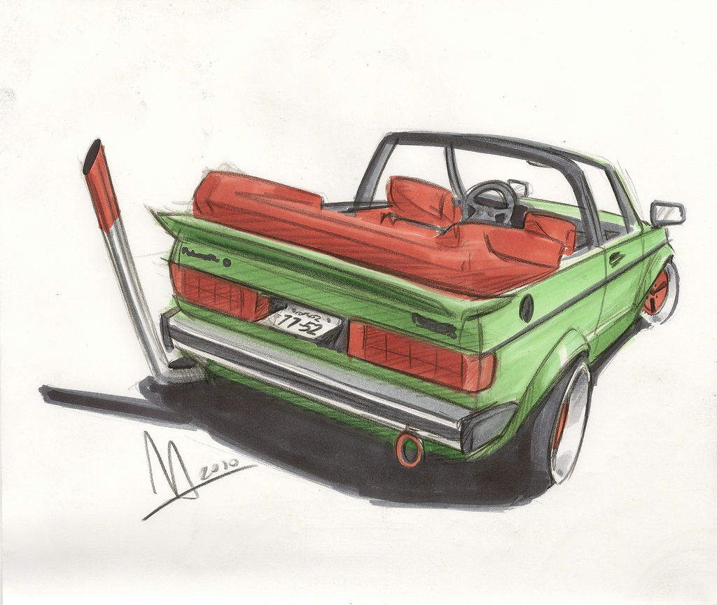 Bosozoku style artwork: VW Rabbit convertible