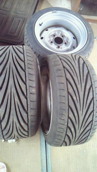 Widened 14 inch 5J Topy steel rims